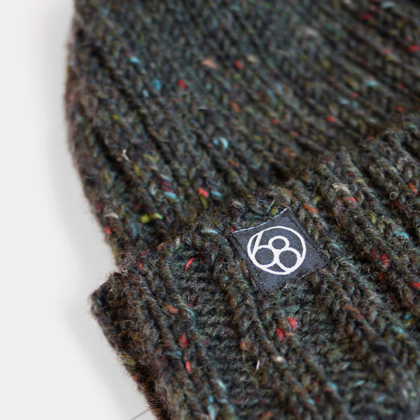 Wool Beanie Hat - Dark Green Speckle