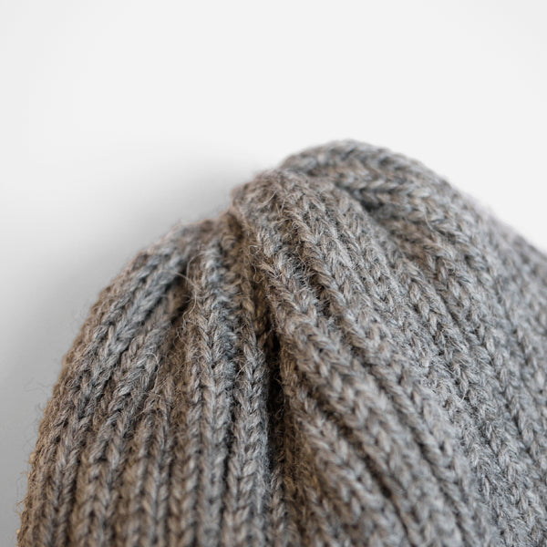 Wool Beanie Hat - Grey