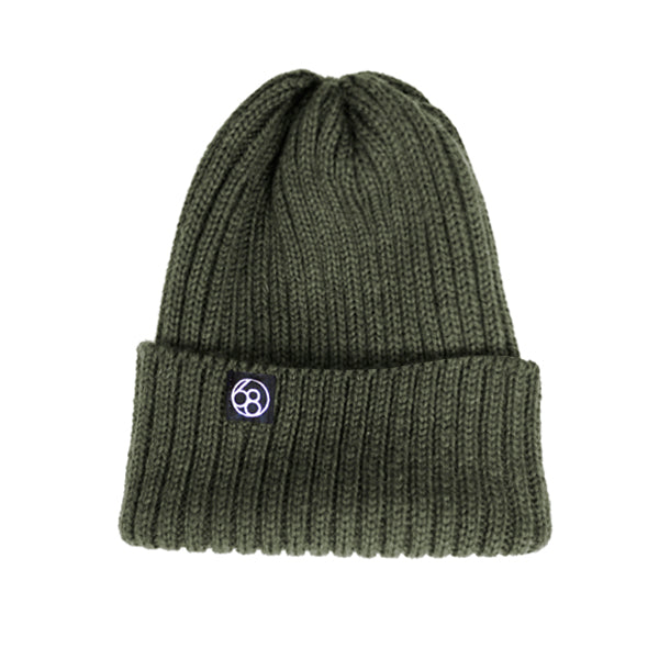 Wool Beanie Hat - Olive Green