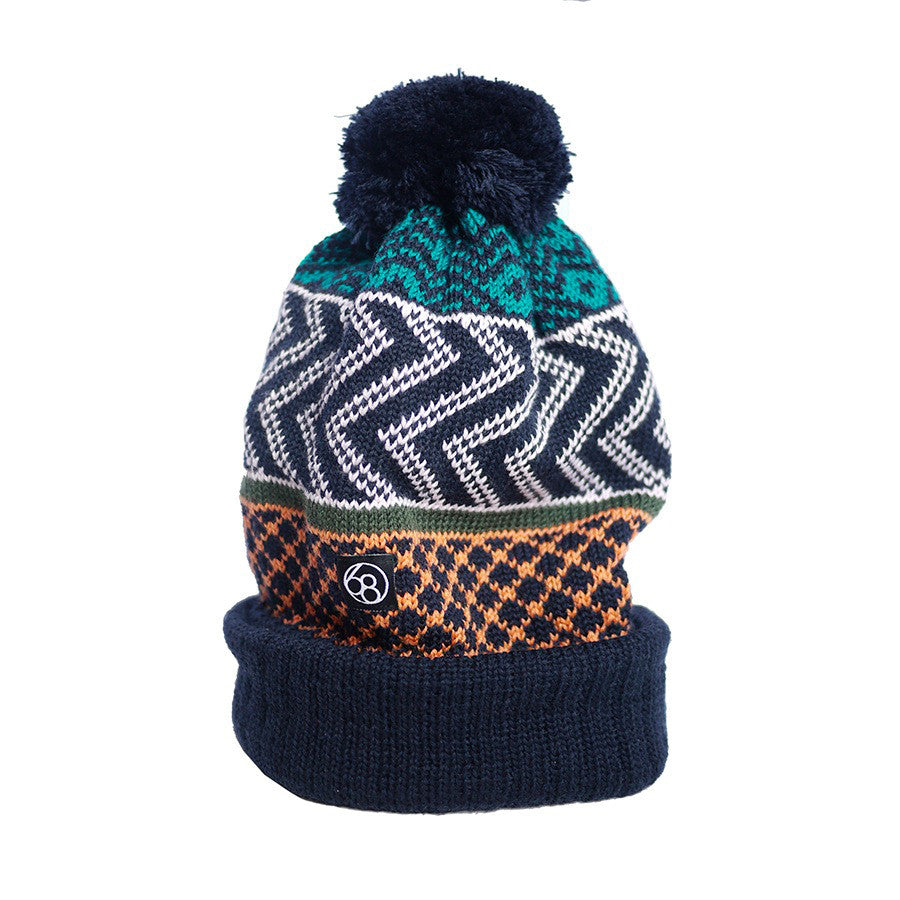 Merino Wool Hat - Navy Wonky