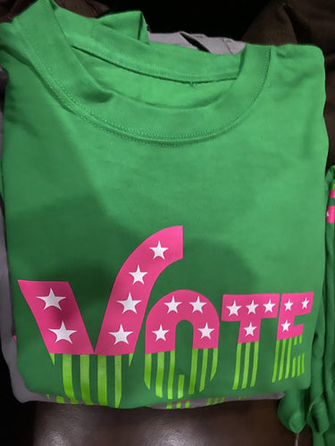 VOTE 2020 - VOTE (GREEN) TShirt - READY TO SHIP!! FREE SHIPPING--Single Item Order