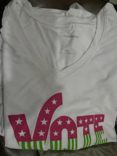 VOTE 2020 - VOTE Pink Green (WHITE) TShirt - READY TO SHIP!! FREE SHIPPING--Single Item Orders