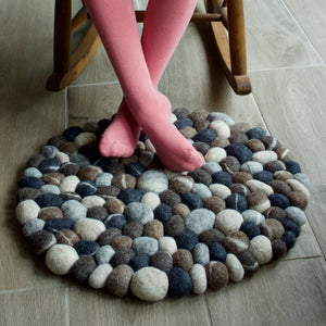 "Wool Hand Felted ""Pebble""  Rug 50cm Round"