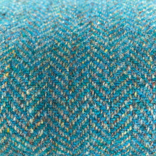 Turquoise and Gold Harris Tweed Bench with Upcycled Dansette Legs