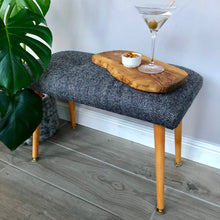 Deep Navy Herringbone Weave Harris Tweed Bench with Upcycled Dansette Legs