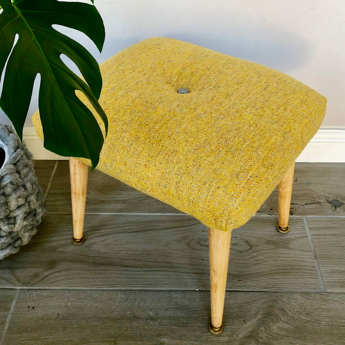 Yellow and Grey Harris Tweed Stool with Upcycled Dansette Legs