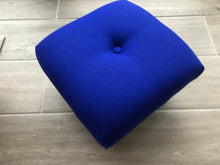 "Abraham Moon ""Park Lane"" Cobalt Blue Retro Style Footstool with Vintage Legs"