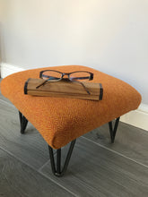 Harris Tweed Retro-Style Footstool with Hairpin Legs