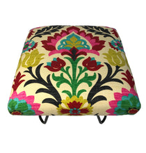 Santa Maria Desert Flower Fabric Footstool in Black Hairpin Legs