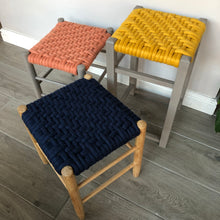 Felted Wool Woven Topped Vintage Stools