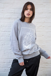 Geometric Feather - Grey Jersey / White Print - try wild