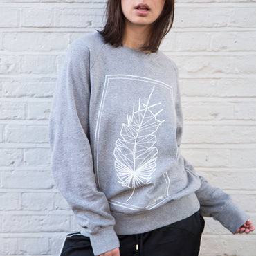 Geometric Feather - Grey Jersey / White Print