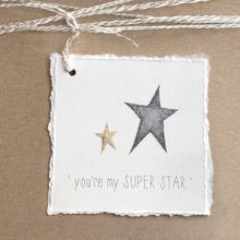 Load image into Gallery viewer, Super Star Gift Tag - Deckled Edge - Glitter - Graduation, Birthday, Love Card