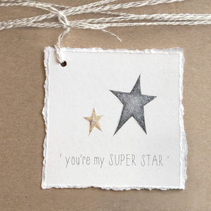 Super Star Gift Tag - Deckled Edge - Glitter - Graduation, Birthday, Love Card