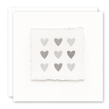 Load image into Gallery viewer, Deckled Edge Silver Hearts Card