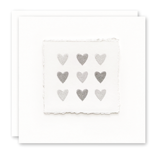 Deckled Edge Silver Hearts Card