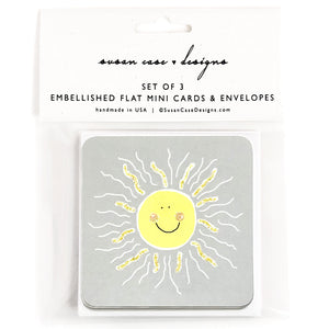 Happy Face Sunshine Gift Enclosure Cards, Gift Tags, Mini Cards
