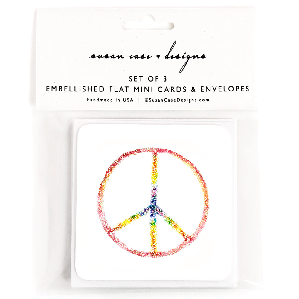 Rainbow Peace Sign Cards | Gift Enclosures | Gift Tags | Susan Case Designs