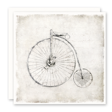 Load image into Gallery viewer, Old Time Bicycle, Heart In Wheel, Blank Inside, Square