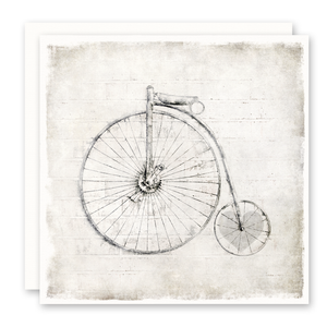 Old Time Bicycle, Heart In Wheel, Blank Inside, Square