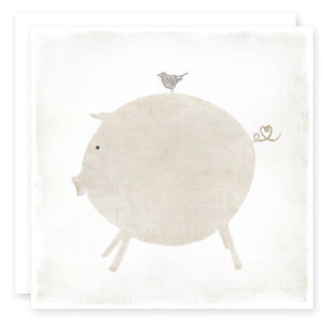 LOVE CARD, Pig and Bird with a heart in the pig's tail
