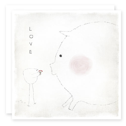 LOVE CARD - Blushing Pig - blank inside