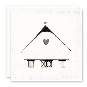 Old Rustic White Barn with xo and heart - Greeting Card