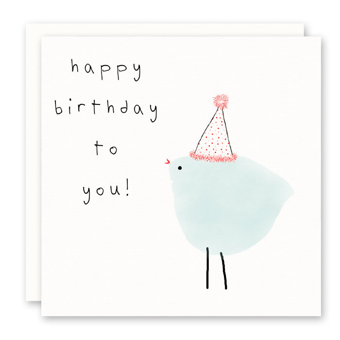 Bird Birthday Card with party hat