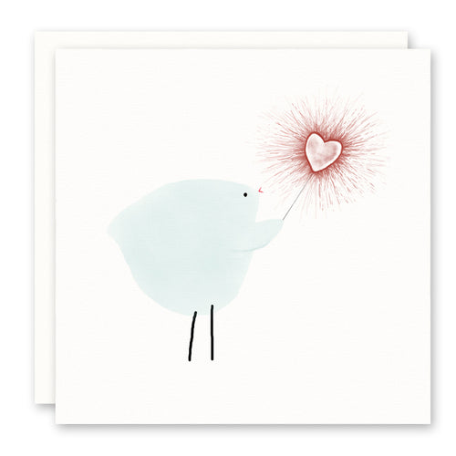 Love Card, Valentine's Day Card, Bird with Red Heart Sparkler