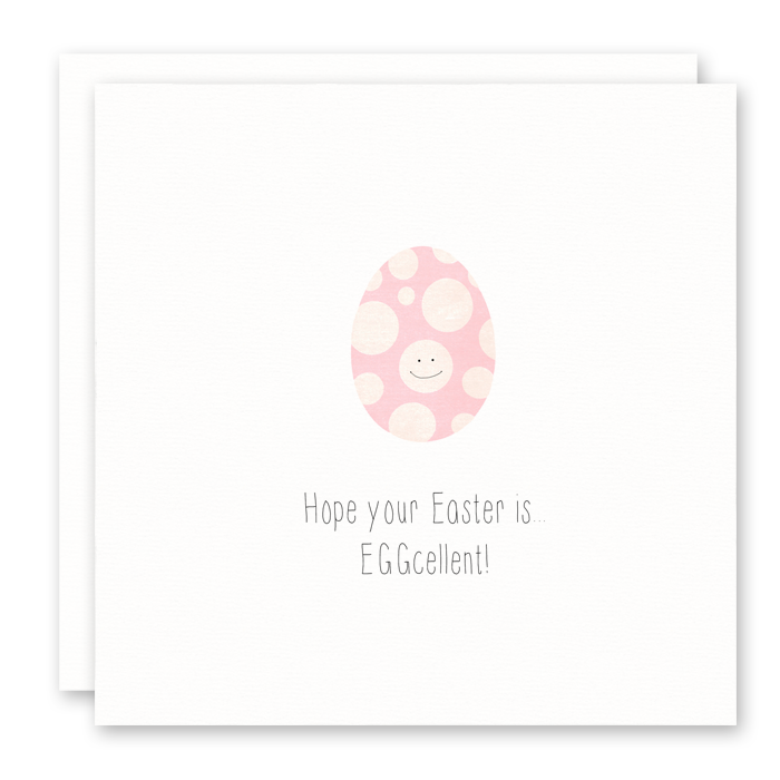 Easter Egg Card - Eggcellent Easter - Pink Polka Dot Egg
