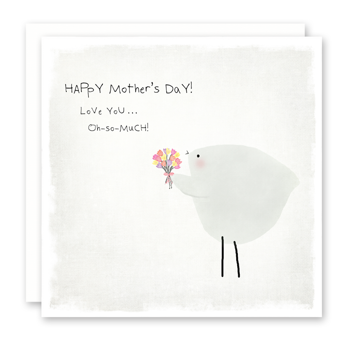 Cute Mother's Day Card, Bird with Tulip Bouquet, Susan Case Designs