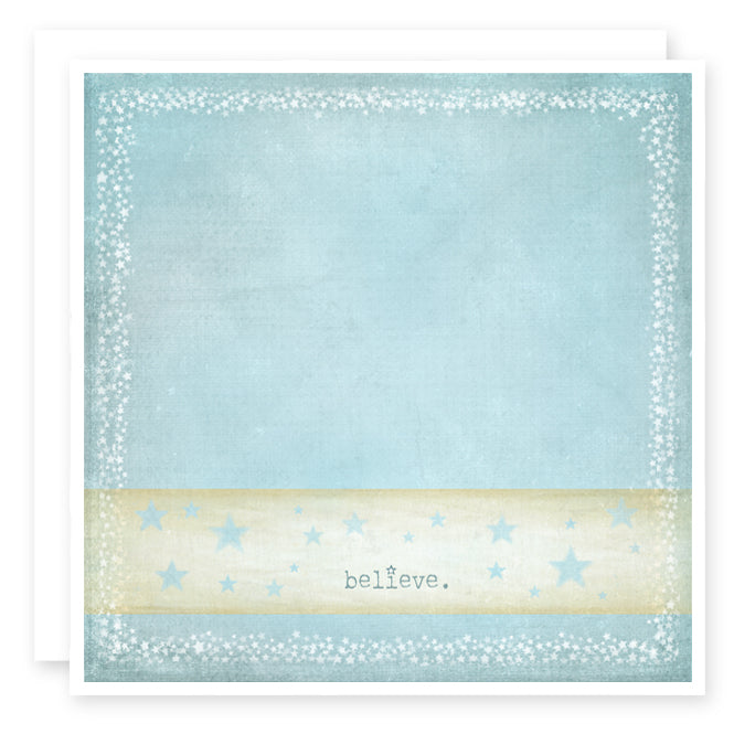 Believe Greeting card print, blue with tiny stars around the word believe