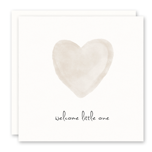 Gender Neutral Baby Card - Welcome Little One - Beige Heart