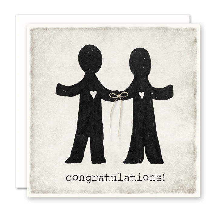 Gay Wedding Card - two men - blank inside