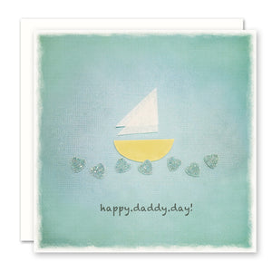 Father's Day Card from child, sailboat on heart waves, blue
