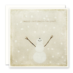 Christmas Card, Smiling Snowman - Happy Holidays To You!