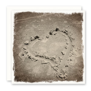 hand drawn heart in sand - beach theme greeting card - beach wedding card