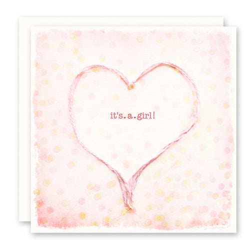 It's A Girl Newborn Baby Girl Card, Pink Heart and Polka Dots