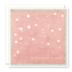 Merry Christmas Card with white stars against red background, blank inside