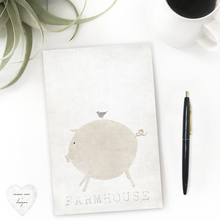 Load image into Gallery viewer, Farmhouse Kitchen Decor Desk stationery note pad, piggy and bird, farmhouse sign