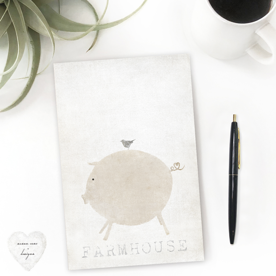 Farmhouse Kitchen Decor Desk stationery note pad, piggy and bird, farmhouse sign