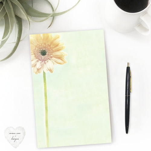 yellow daisy paper pad fine stationery notepad, note taking paper - susan case designs