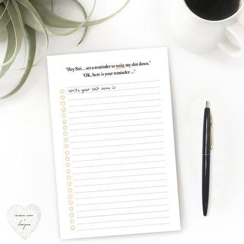 cheeky note pad snarky to do list hey Siri, apple lover hater pad, hey Siri fail, susan case designs
