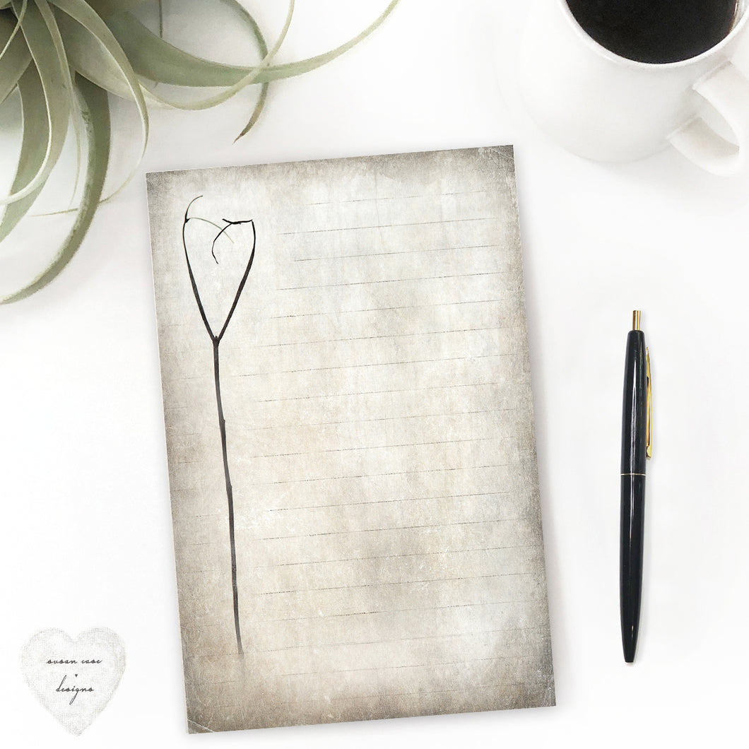 heart twig notepad with rustic vintage look stationery - susan case designs