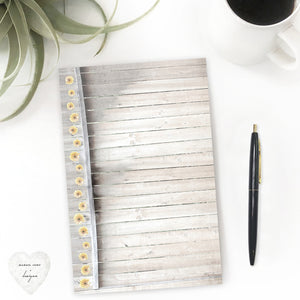 Rustic Modern Farmhouse Kitchen Desk Notepad, Picket Fence