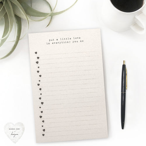 heart check-list note-pad, to-do list, put a little love everything you do - susan case designs