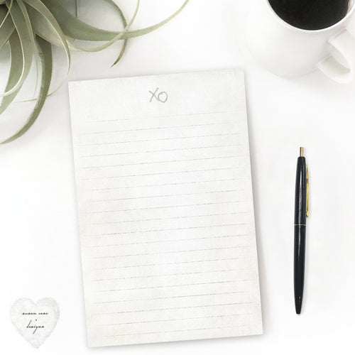 xo stationery notepad, lined paper, minimalist, neutral tone, susan case designs