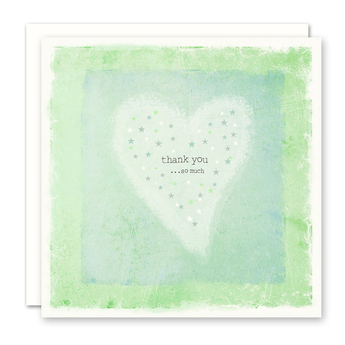 Thank You Card - Thank You So Much, heart and stars, blank inside