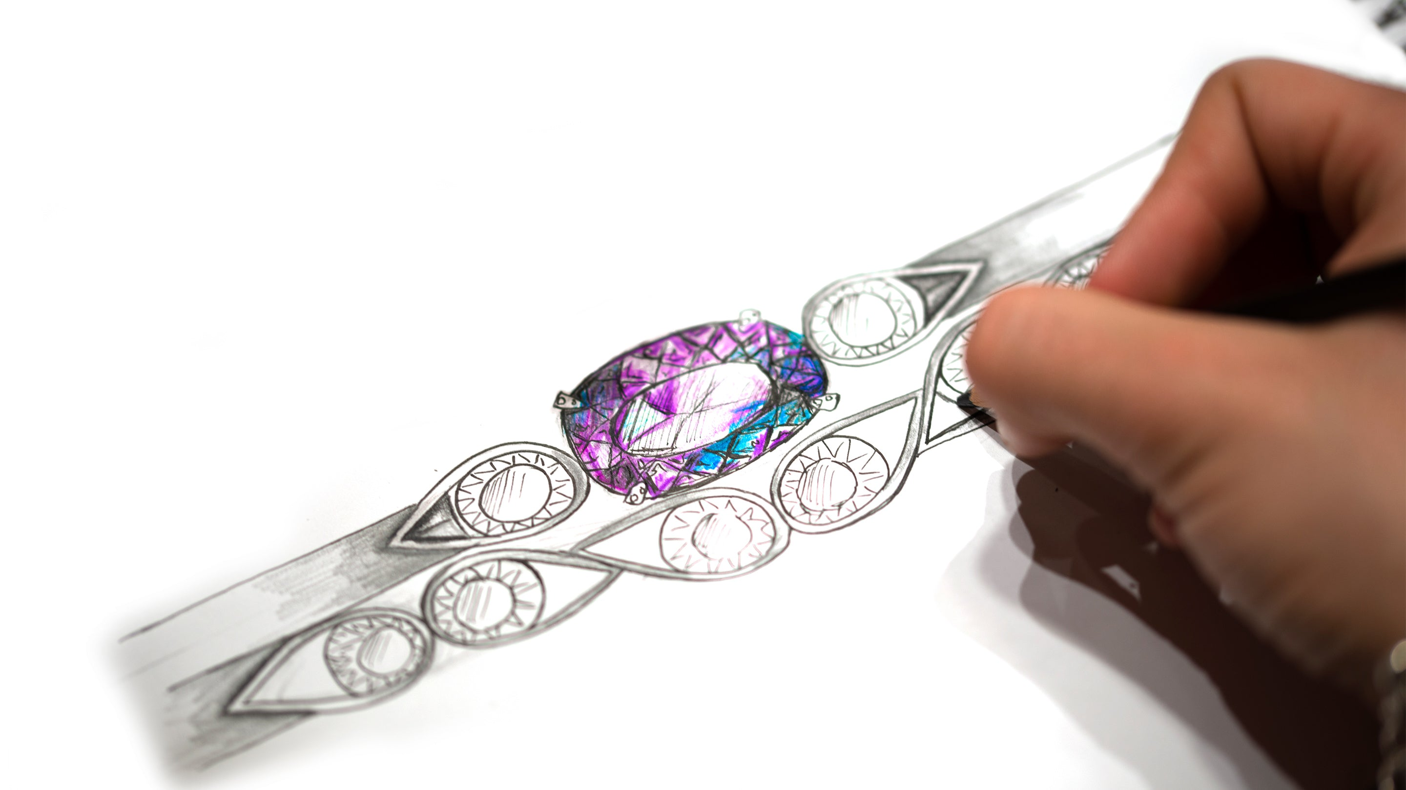 Sketch of two bespoke rings next to each other