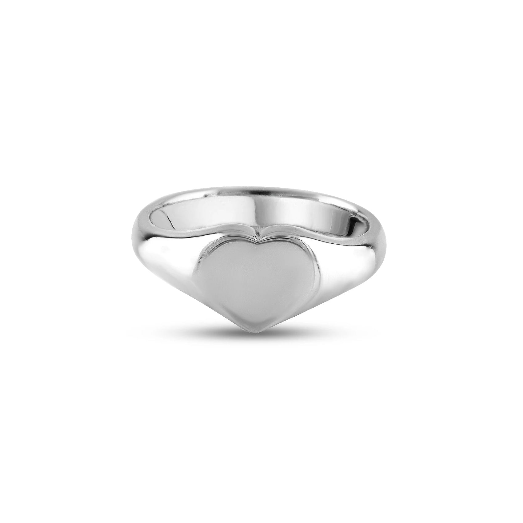 Silver 9 x 9mm Heart Signet Ring